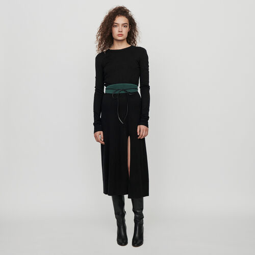 Split and reversible knit dress : Dresses color Black