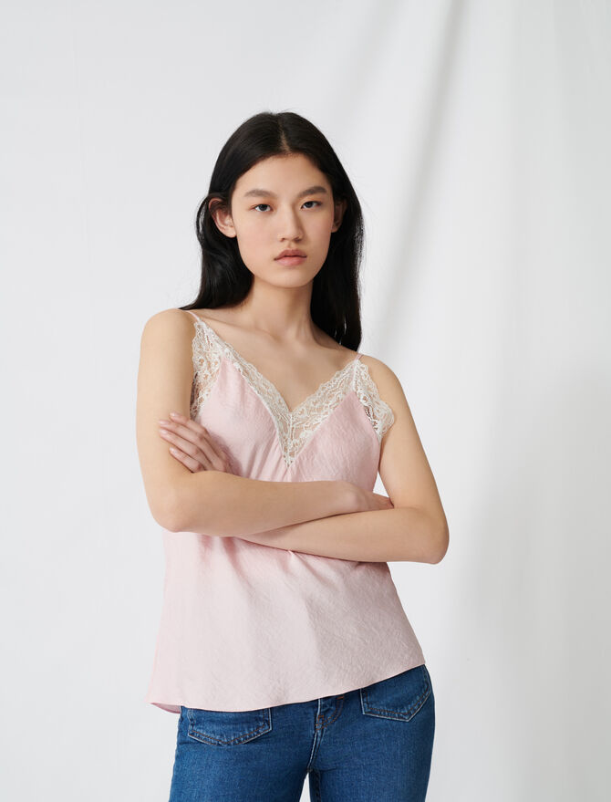 Top with thin straps and lace details - Tops & Shirts - MAJE