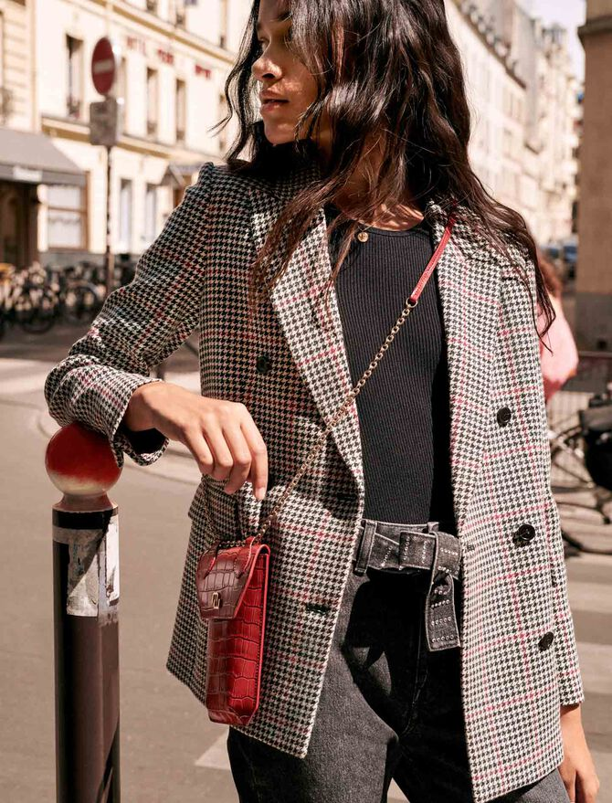 Double-breasted checked jacket - Blazers - MAJE