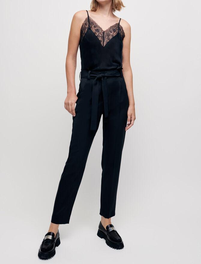 Pantalon carotte avec ceinture -  - MAJE