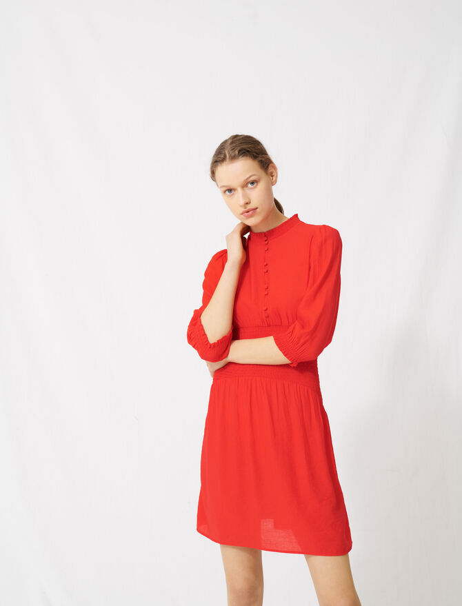 Mid-length smocked red dress - Dresses - MAJE