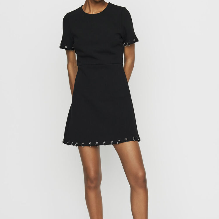 Crepe dress with eyelets and rings : Dresses color Black 210