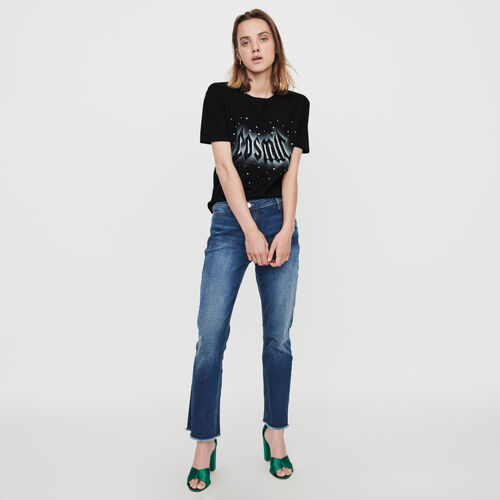 Silk screen printed strass t-shirt : Winter collection color Black