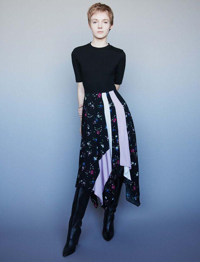 Mixed print trompe-l'oeil dress - SoldesFR_ALL - MAJE