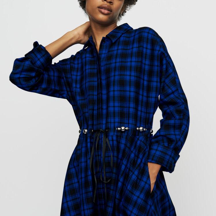 Long plaid shirt dress : Dresses color CARREAUX