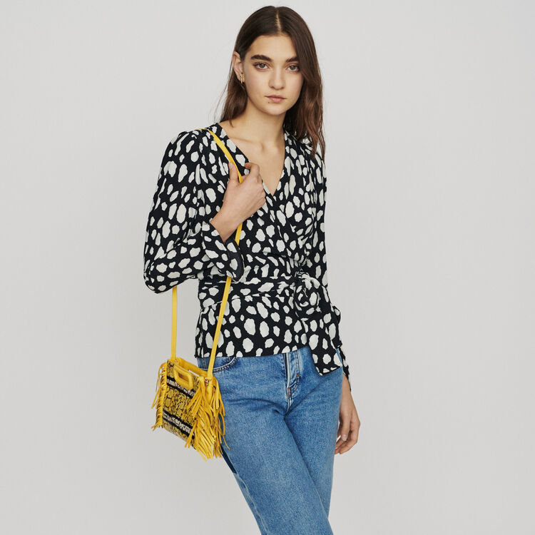 Printed wrap V-neck top : New in : Summer Collection color PRINTED