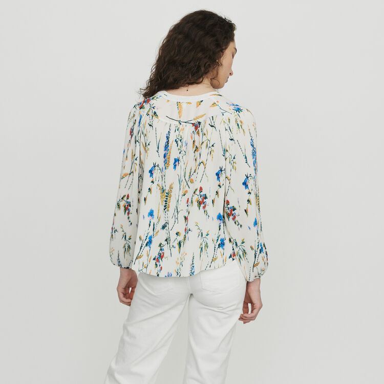 Pleated printed jewel top : Tops & Shirts color PRINTED