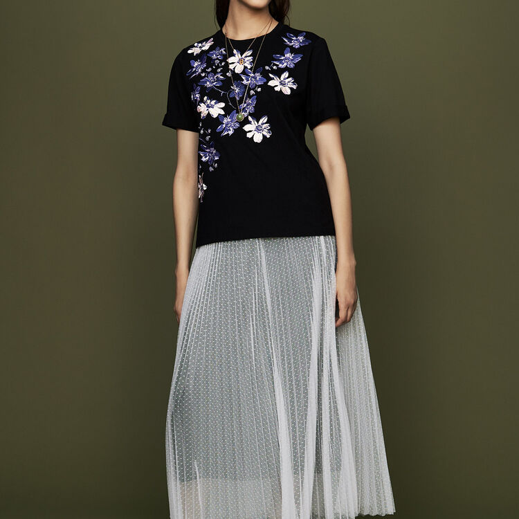 Pleated slip with tulle plumetis : Skirts & Shorts color ECRU