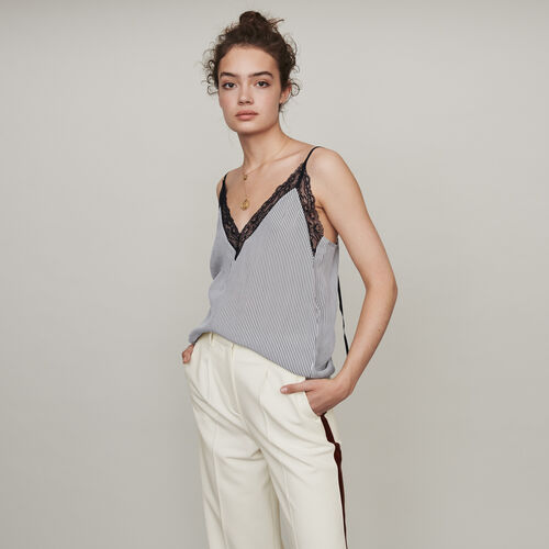 Striped camisole with lace trim : Tops & Shirts color White / Black