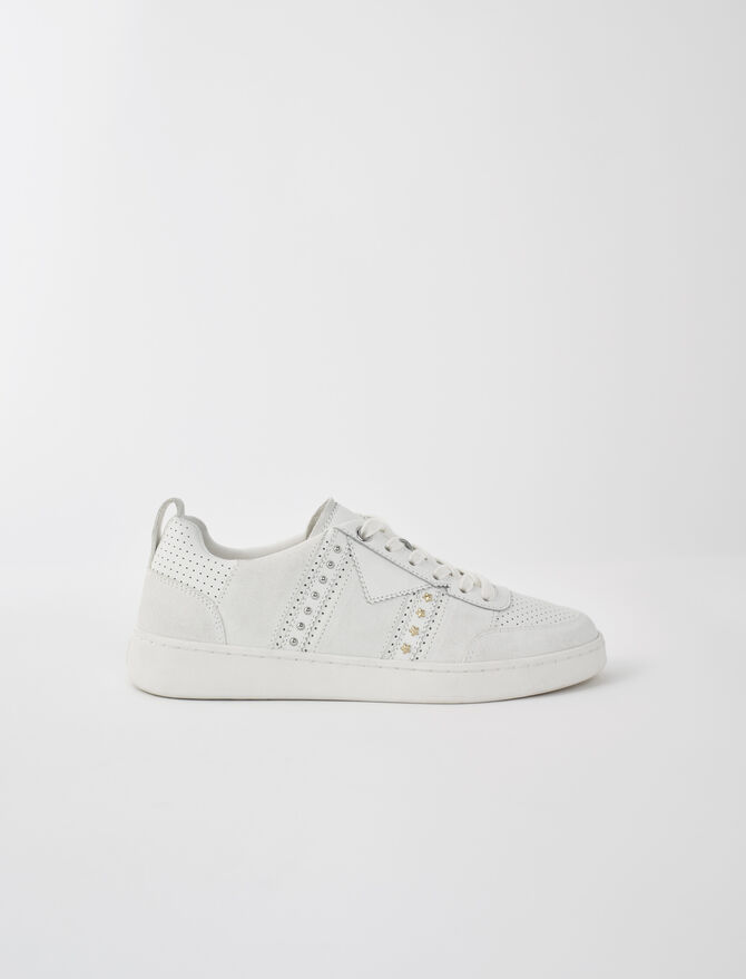 Studded white leather sneakers - Sneakers - MAJE
