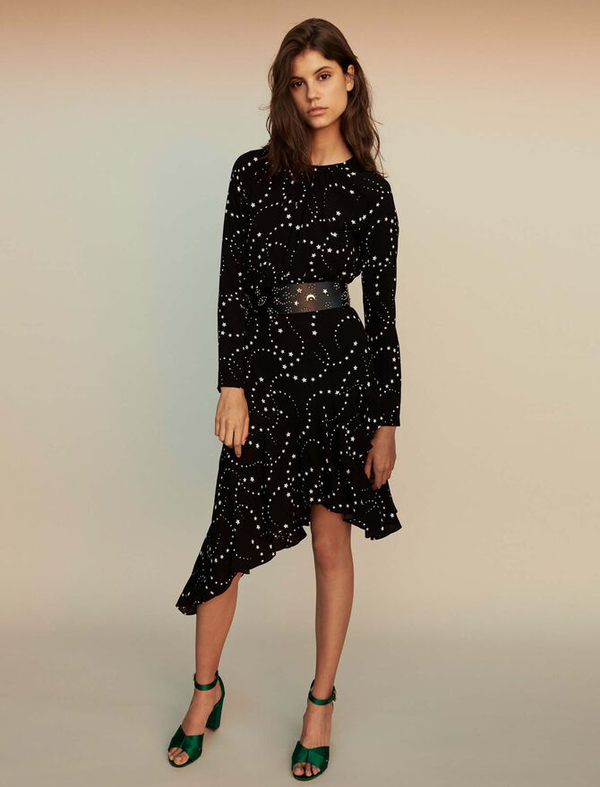 Asymmetrical printed-crepe dress - selection -20 - MAJE