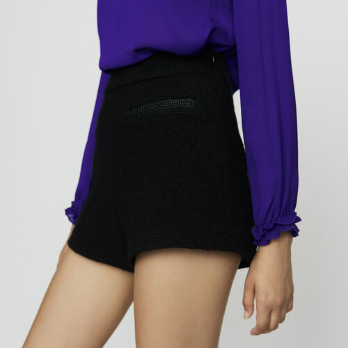 High-waisted shorts in tweed with pearl : Skirts & Shorts color Black 210