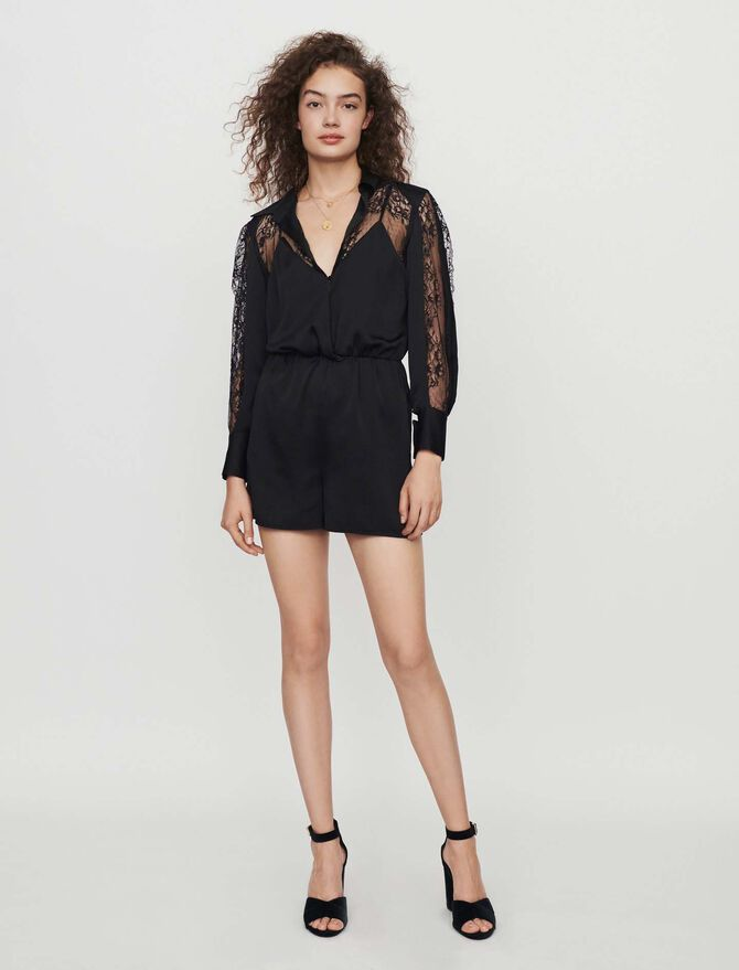 Satin and lace playsuit - Skirts & Shorts - MAJE