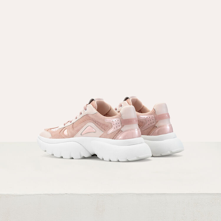 W20 leather urban sneakers in leather : Sneakers color Pink