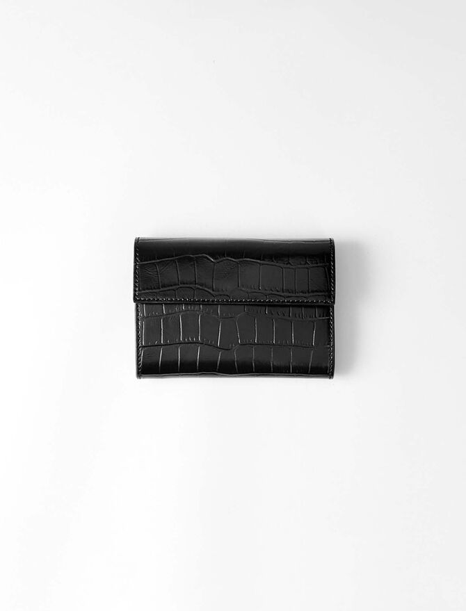 Crocodile embossed-leather wallet -  - MAJE