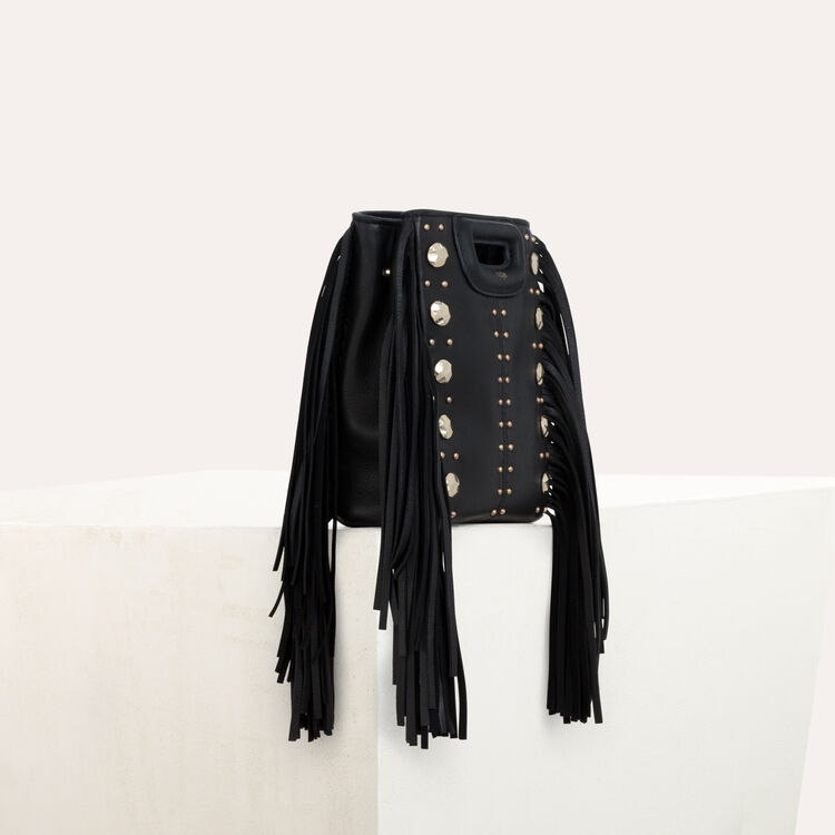 Mini M bag in leather with studs : M Mini color Black