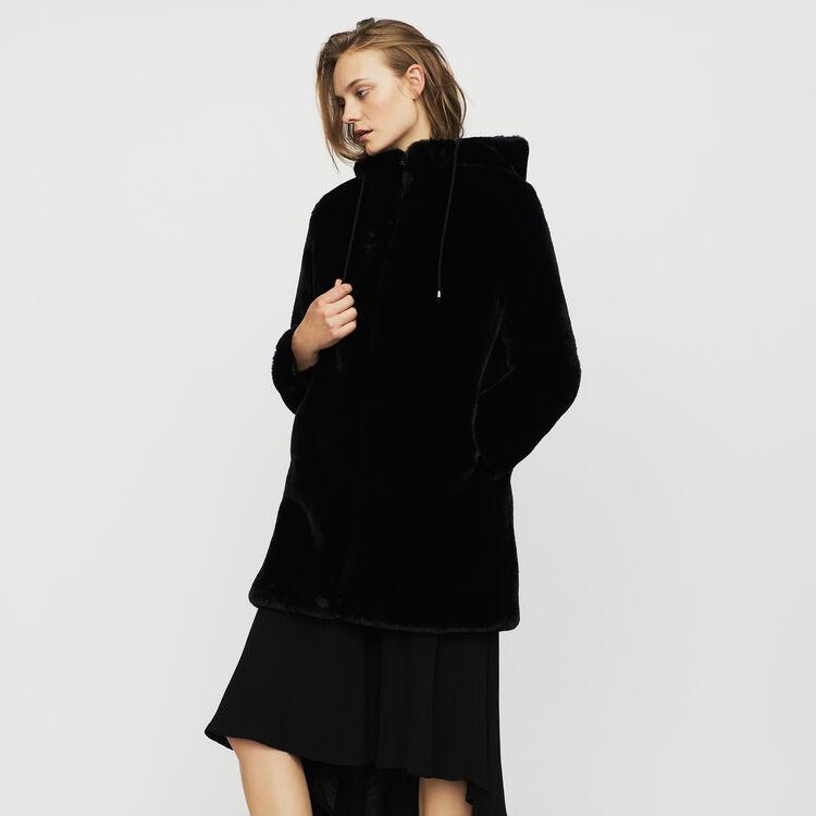 Hooded faux fur jacket : Coats color Black 210