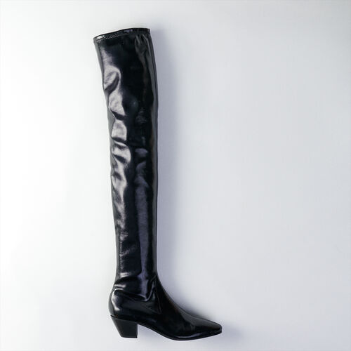 Heeled stretch vinyl thigh boots : Booties & Boots color Black
