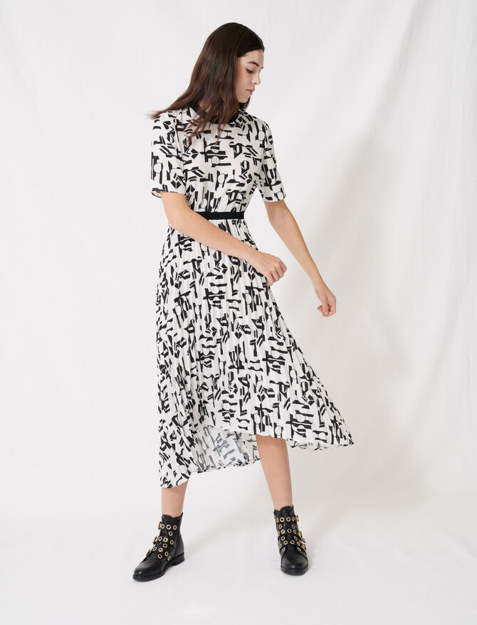 Motif dress with inlaid waistband - Dresses - MAJE