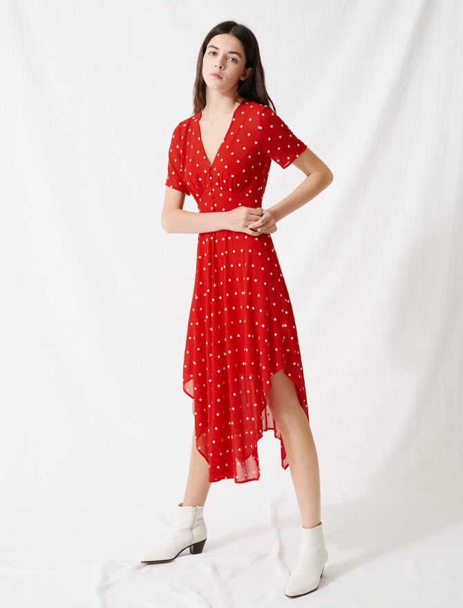 Long embroidered muslin dress - Dresses - MAJE