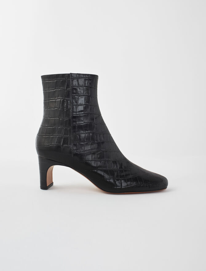 Croc-effect embossed leather boots -  - MAJE