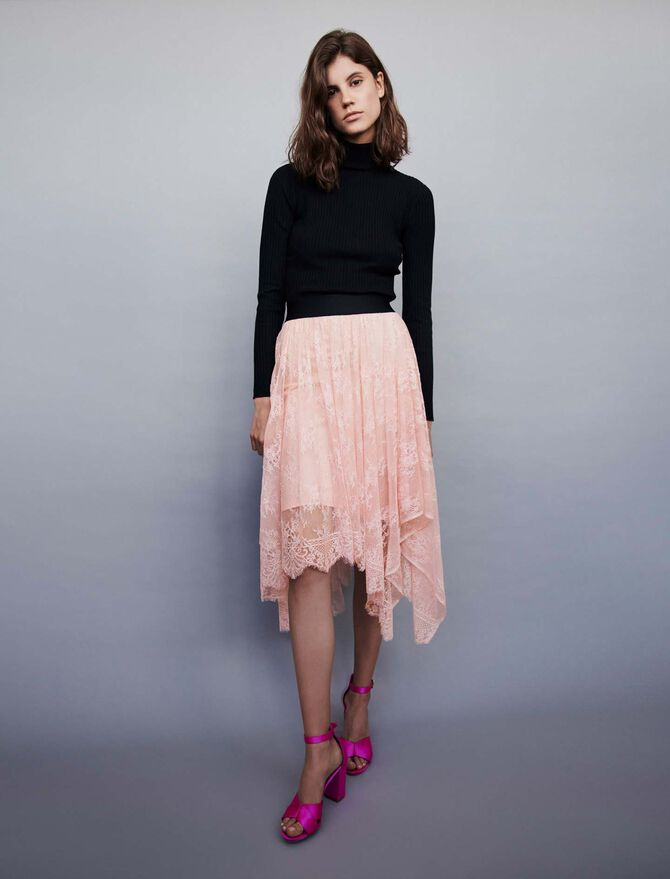 Elasticated asymmetrical lace skirt -  - MAJE