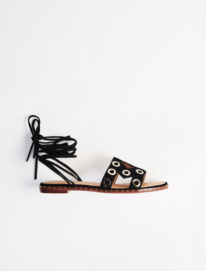 Suede tie sandals with eyelets - soldes-Tout_voir-BE - MAJE