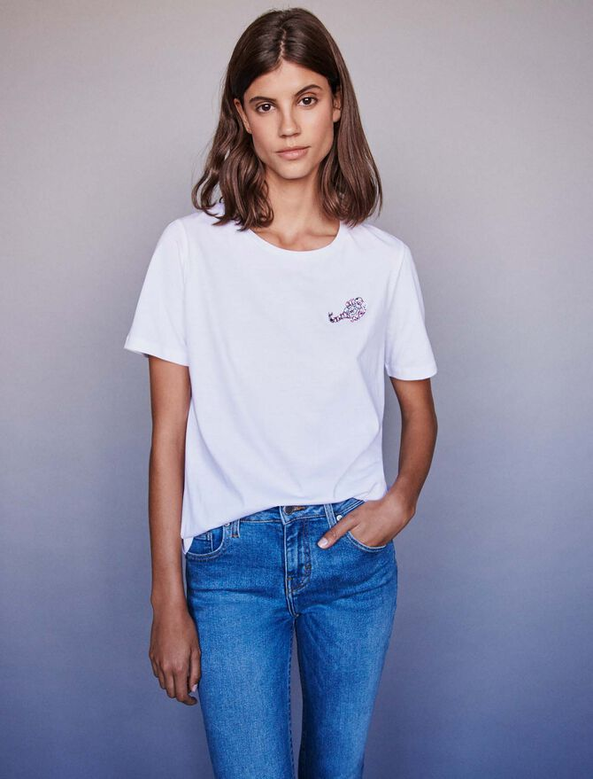 Embroidery and strass cotton t-shirt - All the collection - MAJE