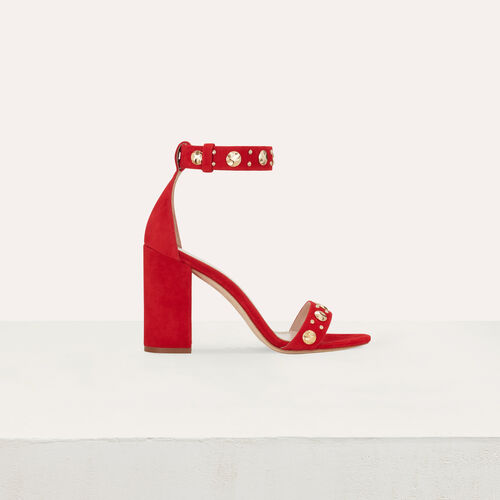 Suede heeled sandals : Slipper color Red