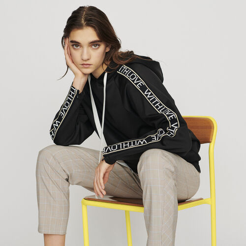 Hooded sweat-shirt with slogan band : Pullovers & Cardigans color Black 210