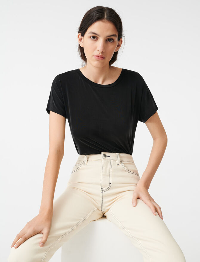 Cupro T-shirt with open back - T-Shirts - MAJE