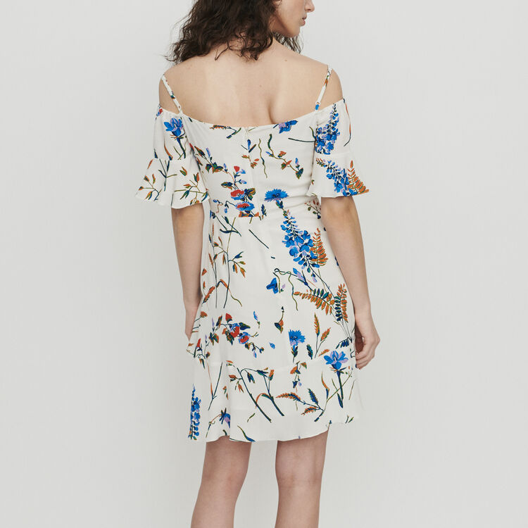 Short printed dress with bare shoulders : Dresses color Print