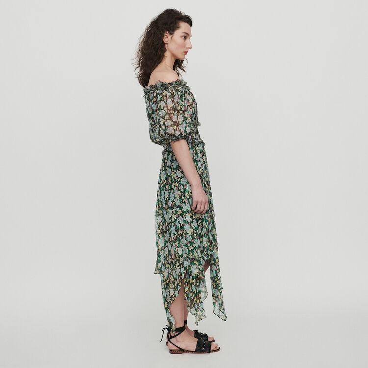 Long smocked dress in floral print : Dresses color Printed