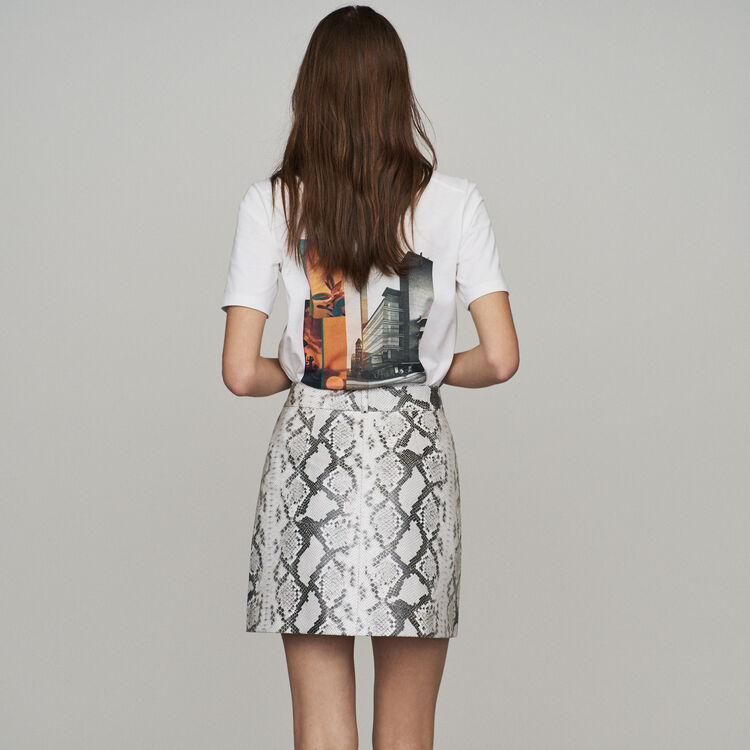Short skirt in leather : New in : Summer Collection color PRINTED