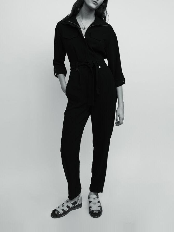 Combi-pantalon en crêpe - Trousers & Jeans - MAJE