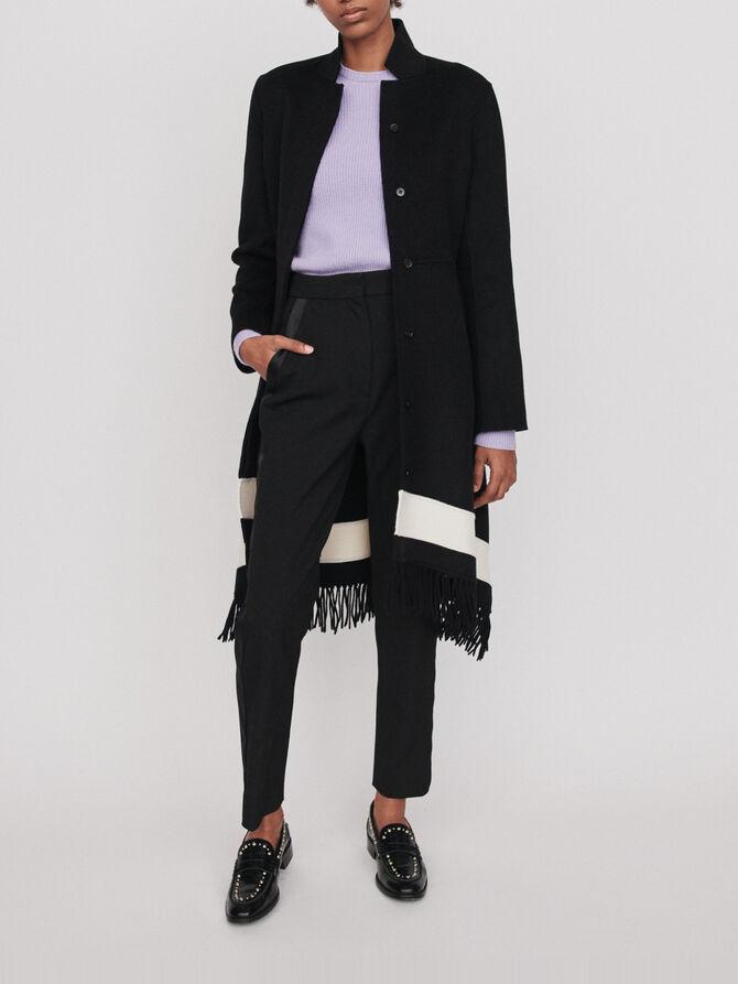 Double face coat with fringe - Jackets & Blazers - MAJE
