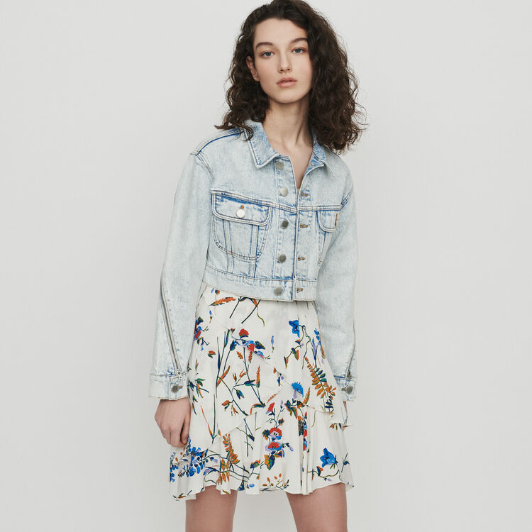 Cropped jacket in faded denim : Blazers color Denim