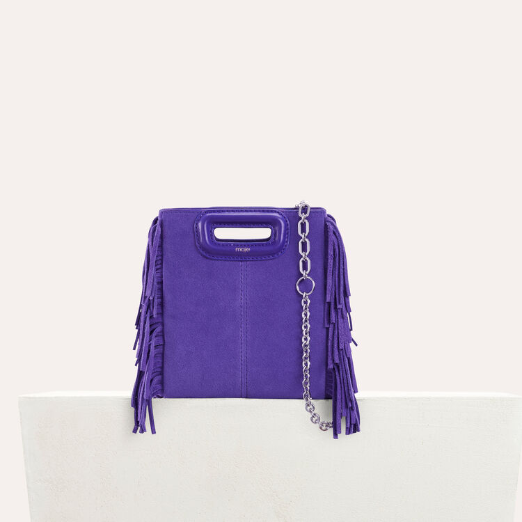 Mini M bag in suede with chain : M Mini color Purple