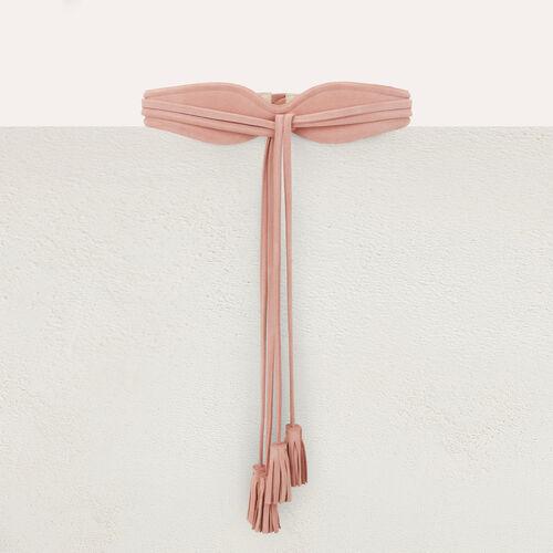 High-waisted suede belt with pompom ties : Belts color Black 210