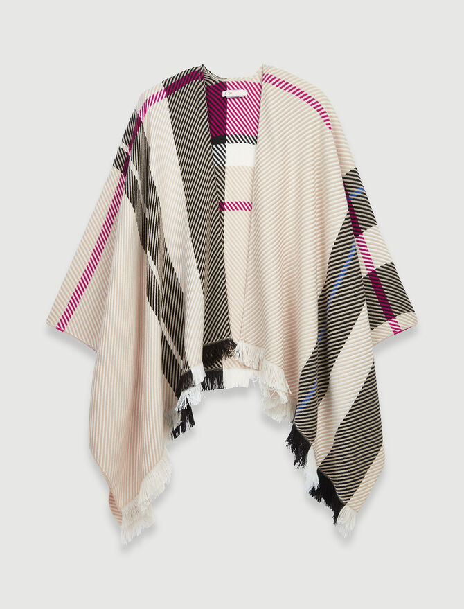Pink check poncho -  - MAJE