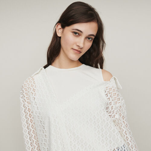 Trompe l'oeil shirt in geometric guipure : Tops color WHITE