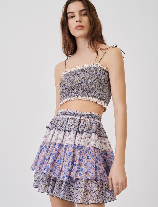 Printed cotton voile skirt with ruffles : Skirts & Shorts color Blue