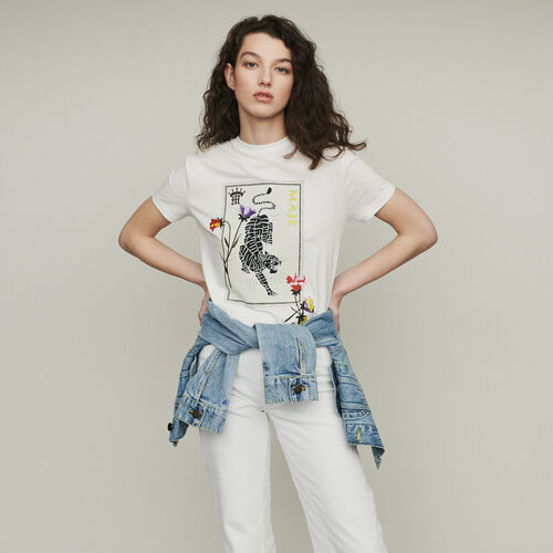 Printed embroidered T-shirt : T-Shirts color WHITE