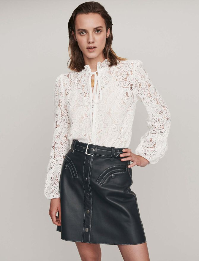 Guipure top with cashmere detail -  - MAJE
