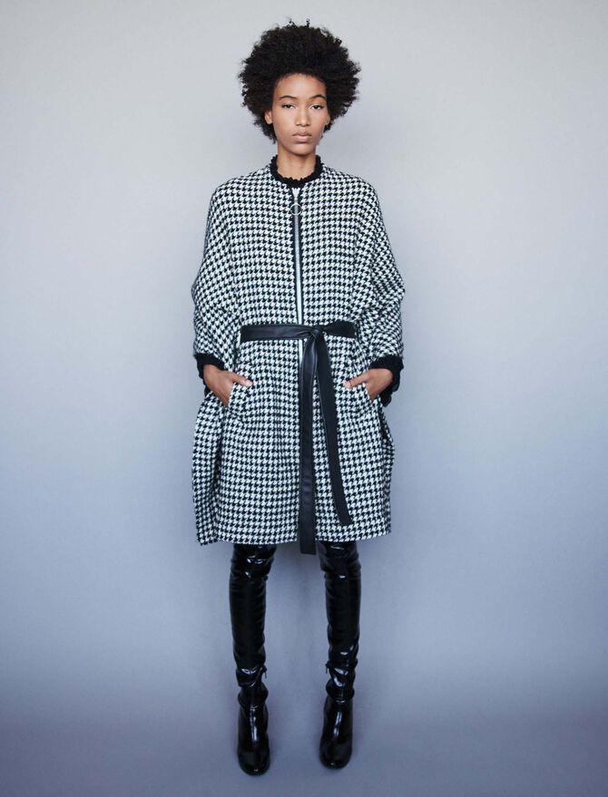 Houndstooth cape-style coat - Jackets & Blazers - MAJE