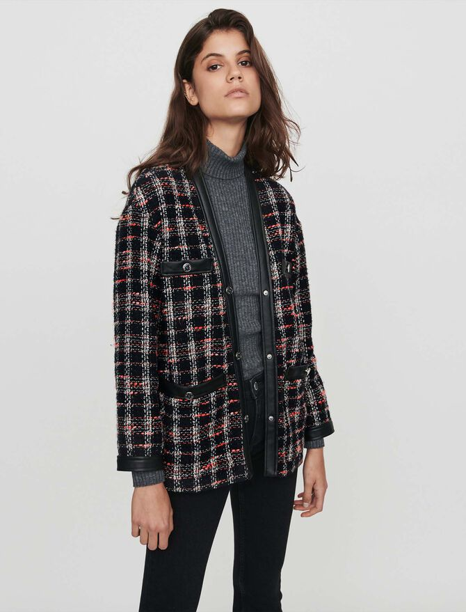 Tweed-syle contrast jacket - Blazers - MAJE