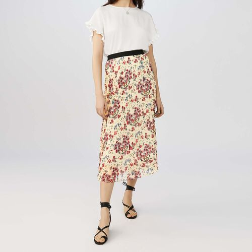 Long pleated floral print skirt : staff private sale color PRINTED