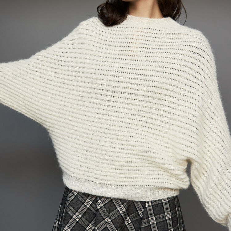 Cropped oversize sweater : Knitwear color ECRU