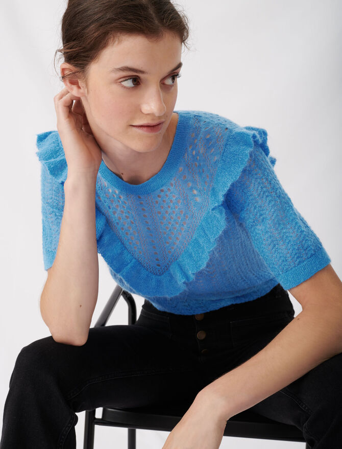 Lace-style knitted sweater with ruffles - New collection - MAJE