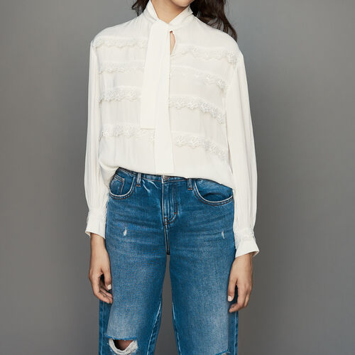 Blouse with embroidered ruffles : Shirts color White